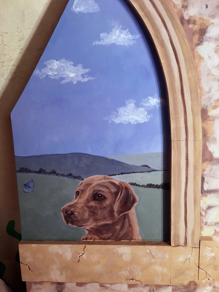 Castle painted wall mural commission pet dog personalised detail