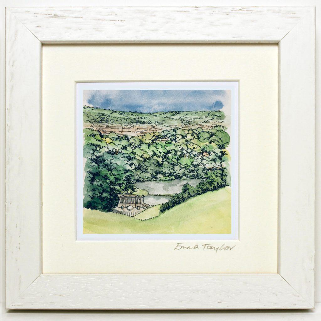 White frame Prior Park landscape in Bath, Somerset